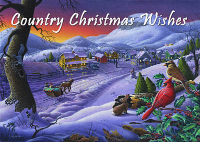 New England Snow Scene Painting - greeting card no 14 Country Christmas Wishes by Walt Curlee