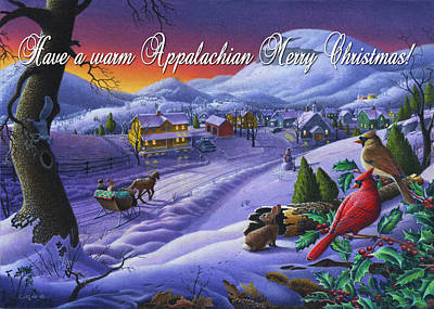 New England Snow Scene Painting - greeting card no 14 Have a warm Appalachian Merry Christmas by Walt Curlee