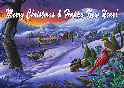 New England Snow Scene Painting - greeting card no 14 Merry Christmas and Happy New Year by Walt Curlee