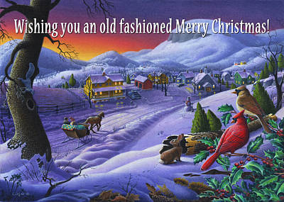 New England Snow Scene Painting - greeting card no 14 Wishing you an old fashioned Merry Christmas by Walt Curlee
