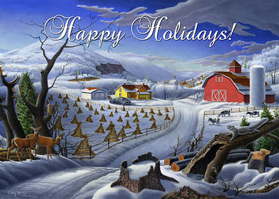 New England Snow Scene Painting - greeting card no 3 Happy Holidays by Walt Curlee