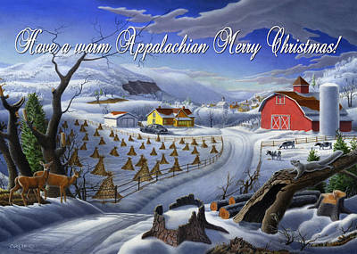 New England Snow Scene Painting - greeting card  no 3 Have a warm Appalachian Merry Christmas by Walt Curlee