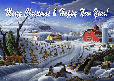 New England Snow Scene Painting - greeting card no 3 Merry Christmas and Happy New Year by Walt Curlee