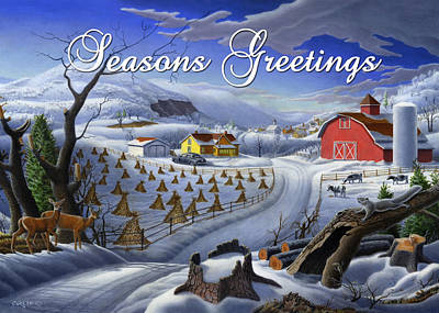 New England Snow Scene Painting - greeting card no 3 Seasons Greetings by Walt Curlee