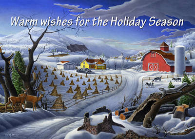 New England Snow Scene Painting - greeting card no 3 Warm wishes for the Holiday Season by Walt Curlee