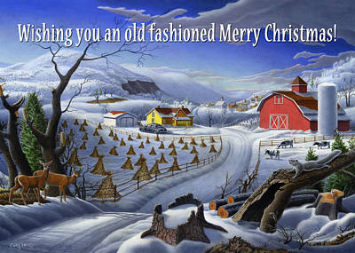 New England Snow Scene Painting - greeting card no 3 Wishing you an old fashioned Merry Christmas by Walt Curlee