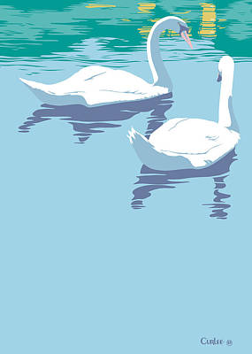 Greeting Card Two Swans Print by Walt Curlee