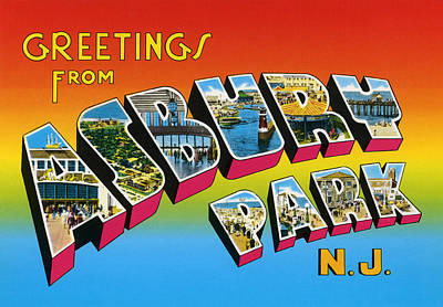 Greetings From Asbury Park Nj Print by Digital Reproductions