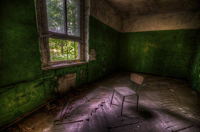 Dilapidated Digital Art - Green Room by Nathan Wright