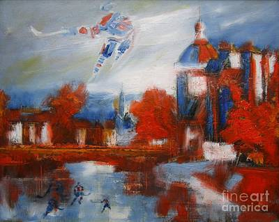 Nhl Winter Classic Painting - Gretzky And Frozen River Players by John Sabey Jr