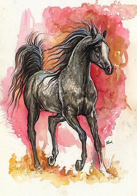 Custom Horse Portrait Drawing - Grey Arabian Horse 2014 01 12 by Angel  Tarantella