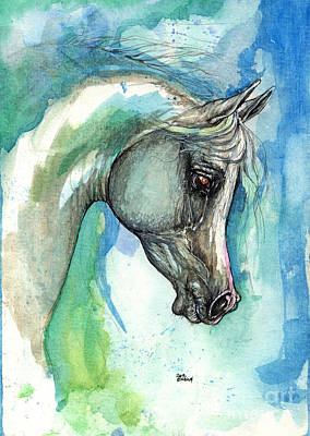 Grey Arabian Horse On Blue Background 05 11 2013 Original by Angel  Tarantella