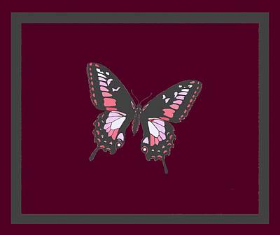 Grey Butterfly Burgundy Violet Background 2 Borders Print by L Brown
