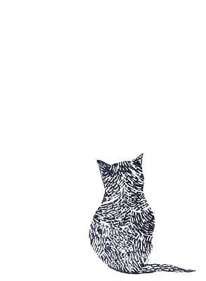 Lino Painting - Grey Cat by Sharon Neudeck