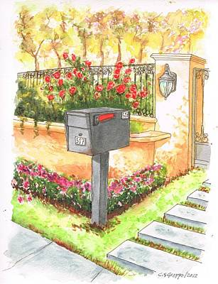 Grey Mail Box In Beverly Hills - California Original by Carlos G Groppa
