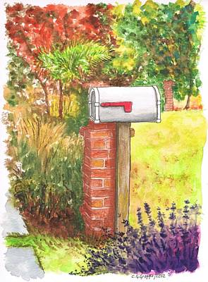 Library Painting - Grey Mail Box Near The Fairfax Public Library - Los-angeles - California by Carlos G Groppa