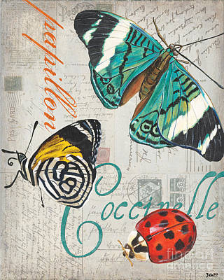 Grey Postcard Butterflies 2 Print by Debbie DeWitt