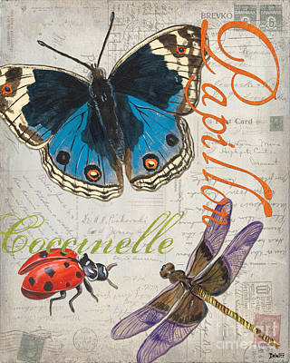 Dragonfly Painting - Grey Postcard Butterflies 4 by Debbie DeWitt