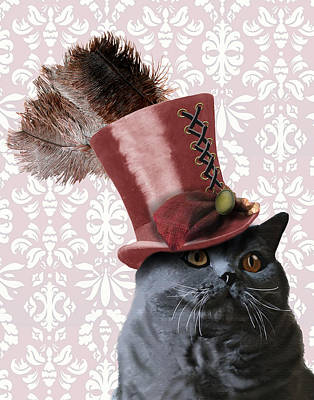 Grey Steampunk Cat With Top Hat Print by Kelly McLaughlan