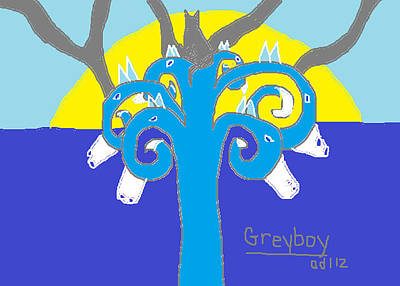 Blue And Grey Drawing - Greyboy The Strength Is On Your Side by Anita Dale Livaditis