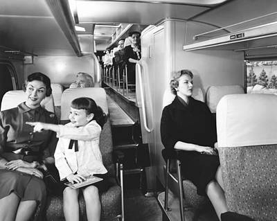 Greyhound Bus Passengers Print by Underwood Archives