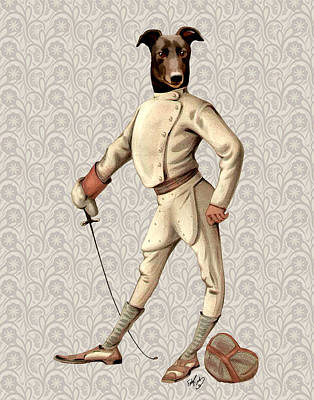 Greyhound Fencer Full White Print by Kelly McLaughlan
