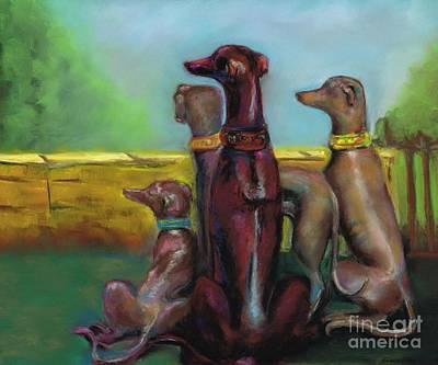 Greyhound Figurines Original by Frances Marino