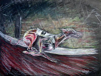 Dog Race Track Drawing - Greyhound Number Three by Tom Conway