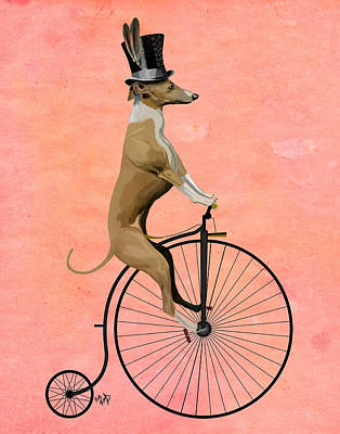 Greyhound Pennyfarthing Black Print by Kelly McLaughlan