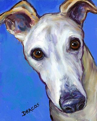 Greyhound Portrait On Blue Print by Dottie Dracos