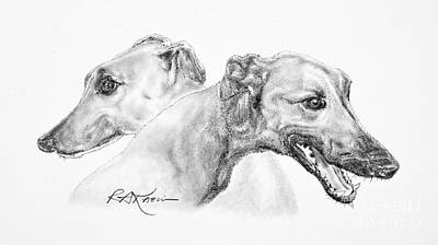 Greyhounds For Two Print by Roy Anthony Kaelin
