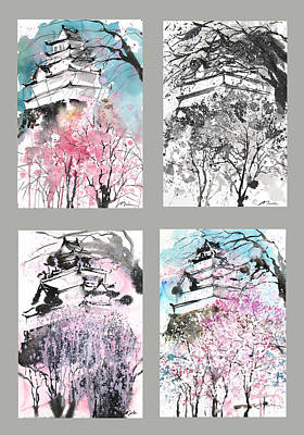 Grid No.6 Japanese Castle In Spring Print by Sumiyo Toribe