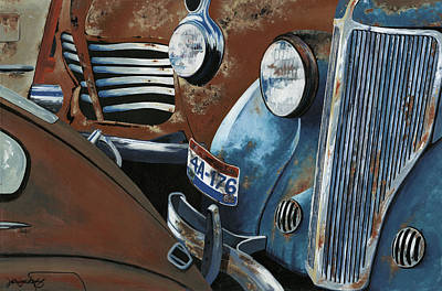 Rust Painting - Gridlock In The Yard by John Wyckoff