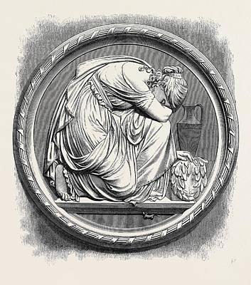 Berlin Drawing - Grief, Berlin In The Royal Academy Exhibition 1871 by Siemering, Rudolf (1835-1905), German