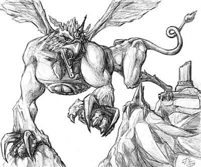 Griffon Drawing - Griffin by Jeffrey Oleniacz