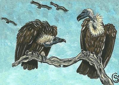 Buzzard Painting - Griffon Vulture - I Hate To Eat And Run But.... by Sherry Goeben