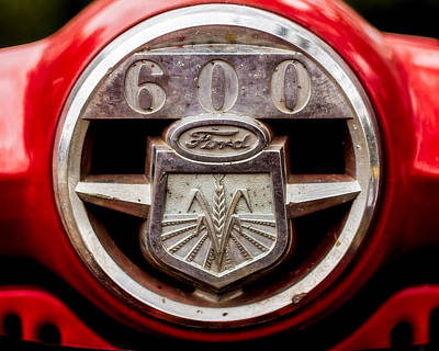 Grill Logo Detail - 1950s-vintage Ford 601 Workmaster Tractor Print by Jon Woodhams