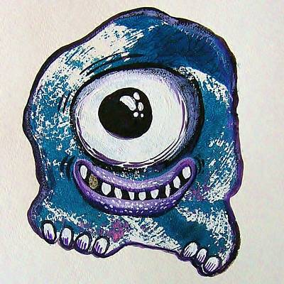 Cyclops Mixed Media - Grinning Monster by Nancy Mitchell