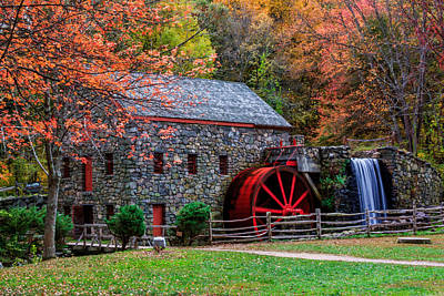 Grist Mill In Autumn Print by Laura Duhaime
