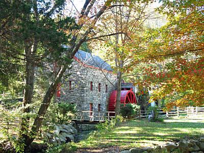 Grist Mill In Fall Print by Barbara McDevitt