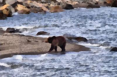 Salmon Painting - Grizzly At Yellowstone Lake by Dan Sproul
