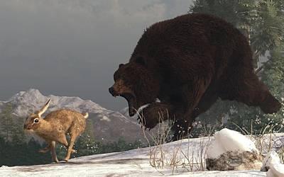 Grizzly Bear Chasing Rabbit Print by Daniel Eskridge
