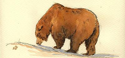 Grizzly Bear  Print by Juan  Bosco