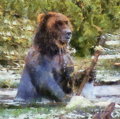 Strong America Digital Art - Grizzly Bear Photo Art 02 by Thomas Woolworth