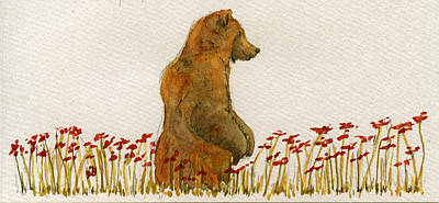 Grizzly Brown Bear Flowers Print by Juan  Bosco