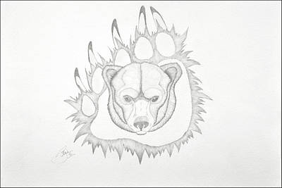 Bear Paw Drawing - Grizzly by Bruce Bentley