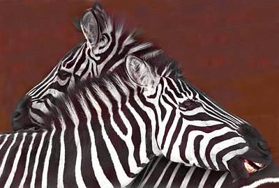 Grooming Zebras Print by Chris  Kusik