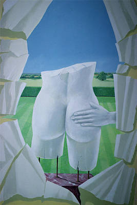Surrealist Photograph - Groping Statues Acrylic On Canvas by Lincoln Seligman