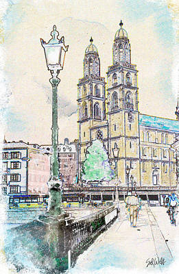 Switzerland Mixed Media - Grossmunster Cathedral by Sid Webb