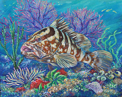 Painting - Groucho The Grouper by Li Newton